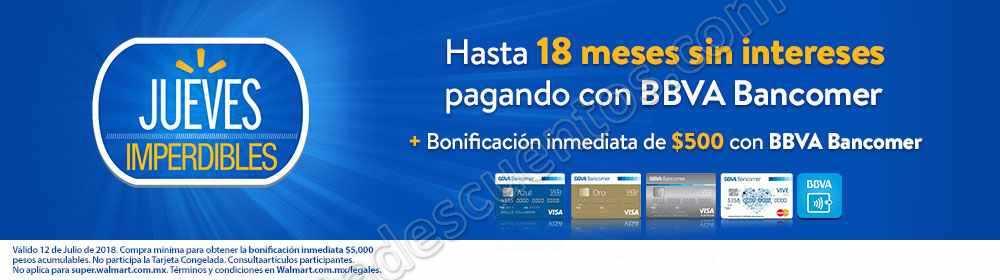 Walmart: Jueves Imperdible $500 de bonificación inmediata con Bancomer