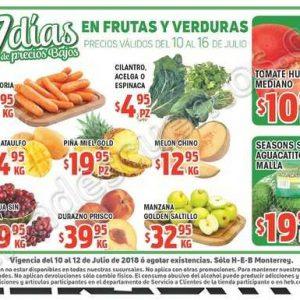 HEB: 7 Días de precios bajos en frutas y verduras del 10 al 16 de Julio 2018