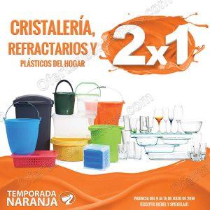 Temporada Naranja 2018 La Comer: 2×1 en toda la Cristalería, Refractarios y Plásticos del Hogar