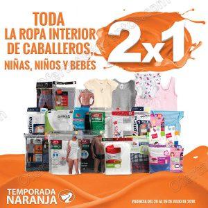 Temporada Naranja 2018 La Comer: 2×1 en ropa interior para Caballero, Niños, Niñas y Bebés