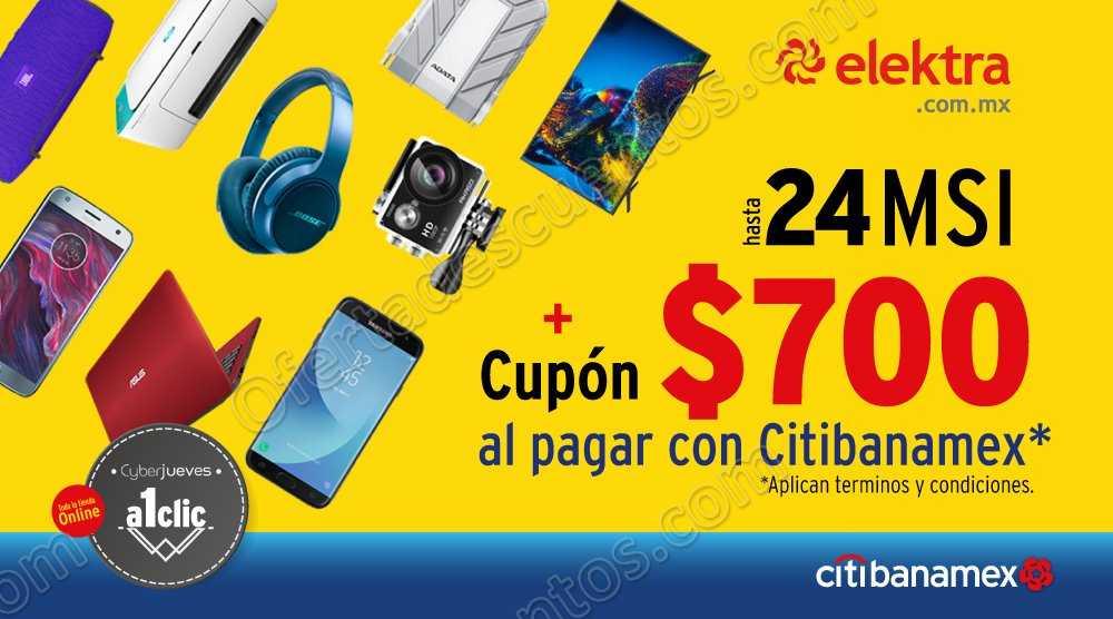 Elektra: Cyberjueves Citibanamex Cupón $700 + 24 Meses Sin Intereses