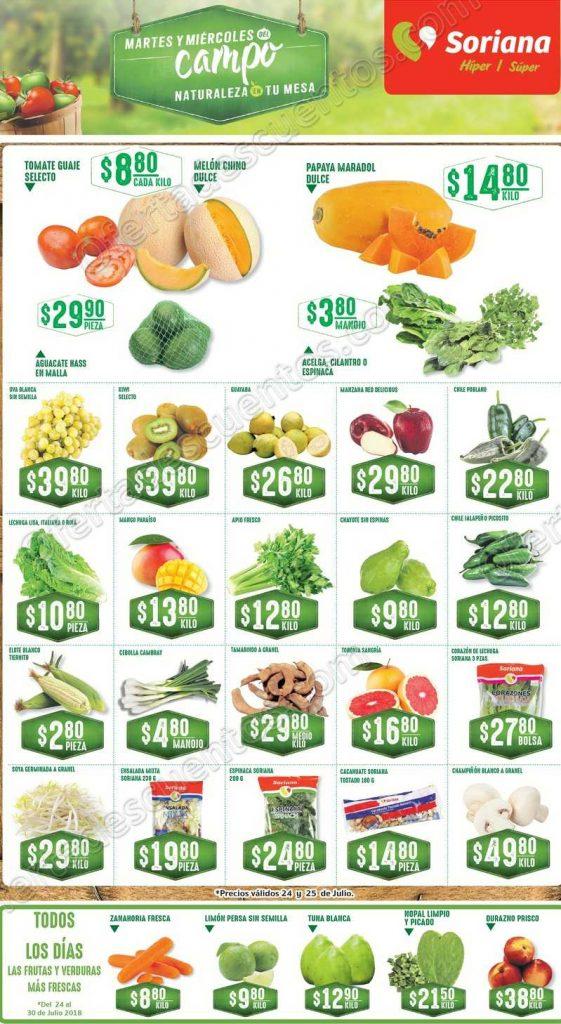 Frutas y Verduras Soriana 24 y 25 de Julio 2018