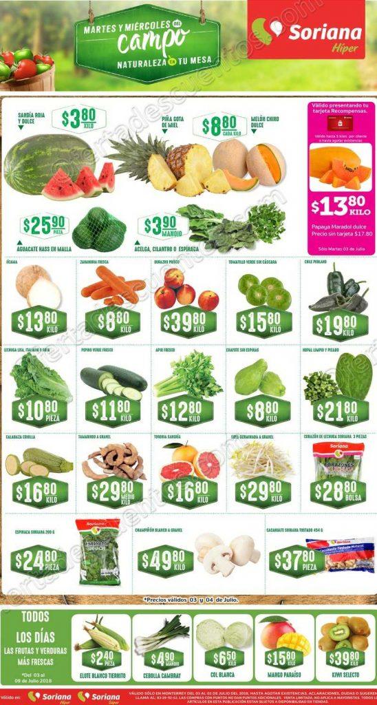 Frutas y Verduras Soriana 3 y 4 de Julio 2018