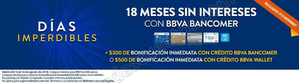 Walmart: Días Imperdibles Bancomer recibe $300 o $500 de Bonificación inmediata