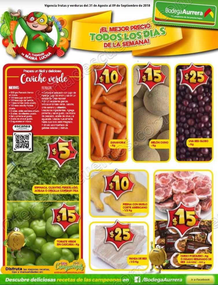 Frutas y Verduras Bodega Aurrerá del 31 de agosto al 9 de septiembre 2018