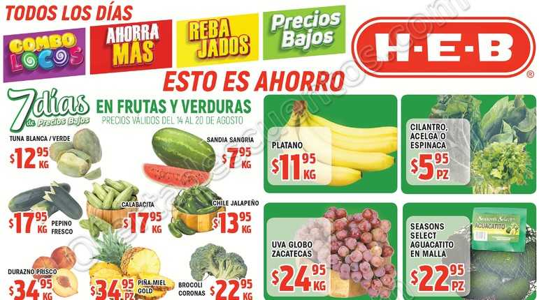 Frutas y Verduras HEB del 14 al 20 de Agosto 2018
