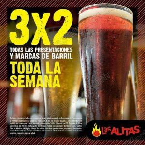 Las Alitas: 3×2 en cerveza de barril de Lunes a Domingo