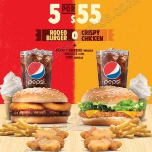 Burger King: 5 por $55 incluye Rodeo Burger o Crispy Chicken más papas, refresco, y más