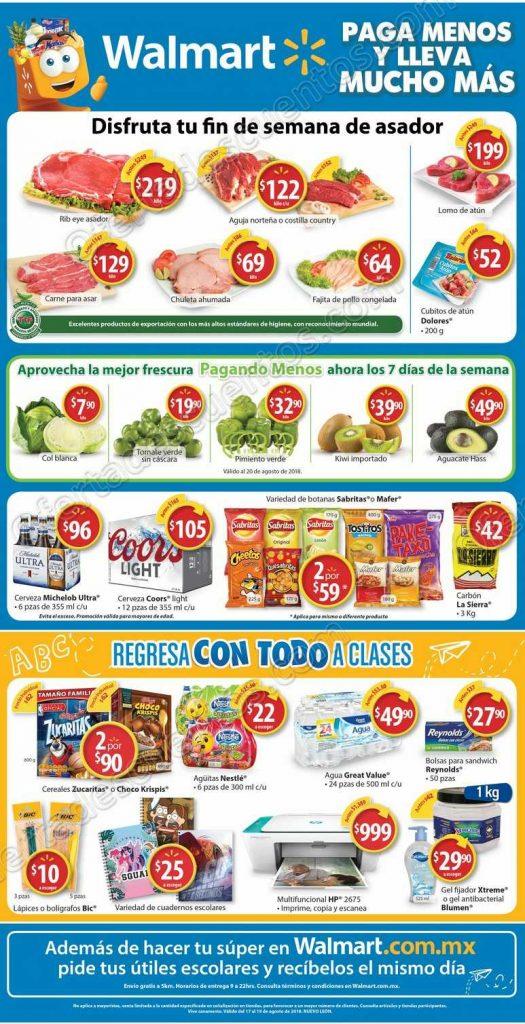 Walmart: Promociones en carnes, frutas, verduras y regreso a clases al 19 de Agosto 2018