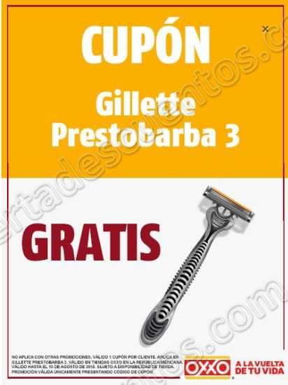 OXXO: Cupón Gillette Prestobarba 3 Gratis