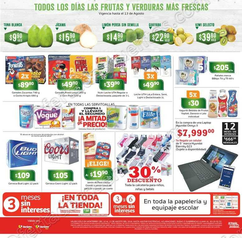 Promociones de Fin de Semana Soriana 10 al 13 de Agosto 2018