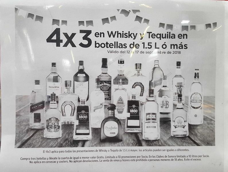 Sams Club: 4×3 en Whisky y Tequilas del 12 al 17 de Septiembre 2018