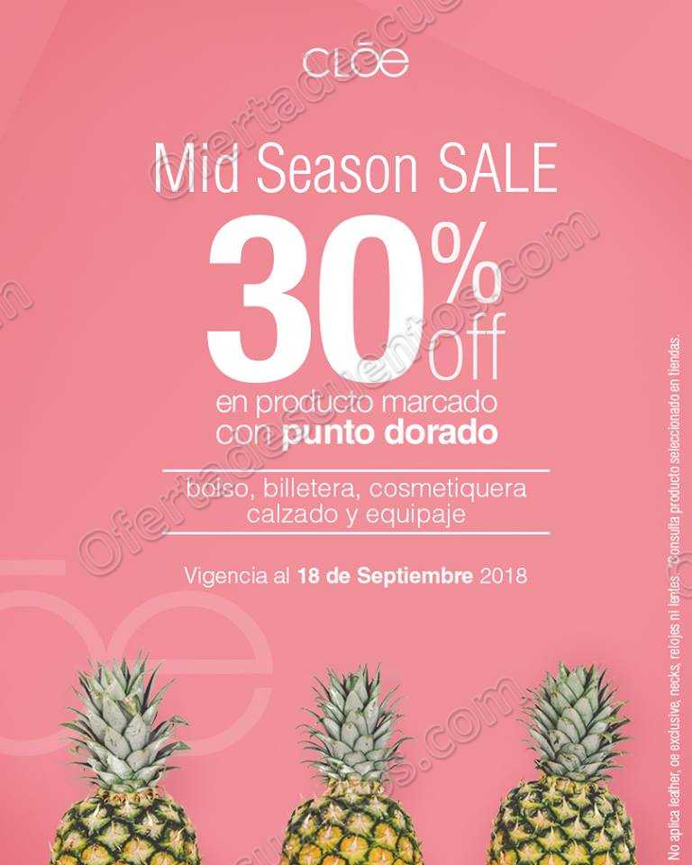 Cloe: Mid Season Sale 30% de descuento en mercancía de temporada