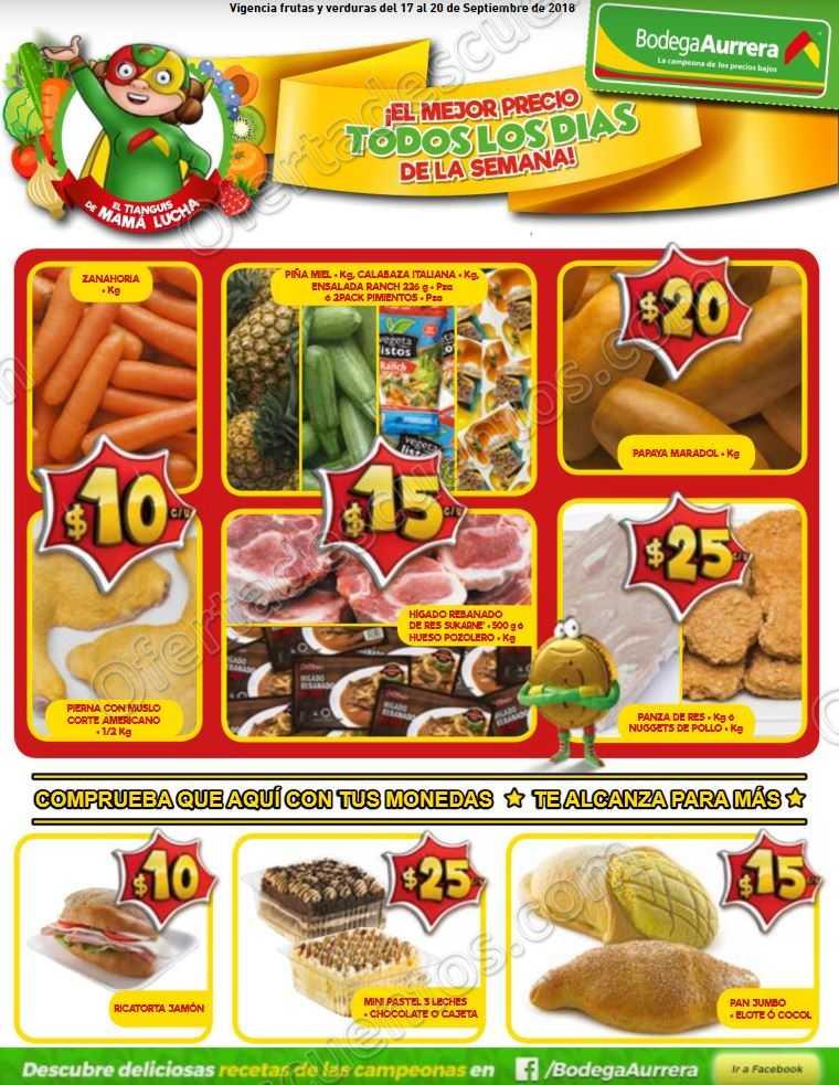 Frutas y Verduras Bodega Aurrerá del 17 al 20 de Septiembre 2018