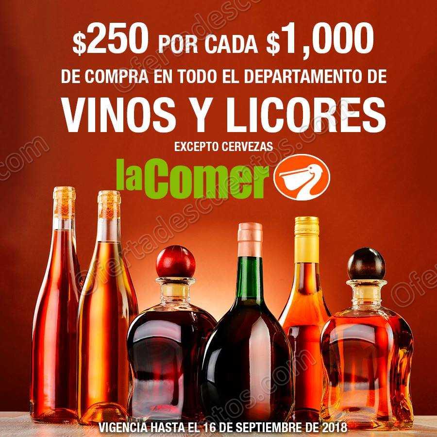La Comer: $250 de descuento por cada $1,000 en Vinos y Licores
