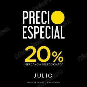 Julio: Venta Precio Especial con 20% de descuento en prendas seleccionadas