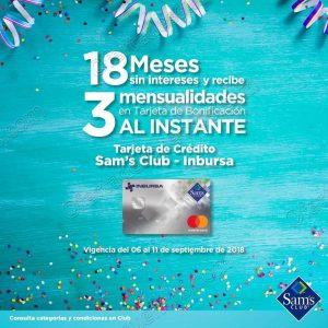 Sams Club: 18 meses sin intereses más 3 de bonificación con Inbursa