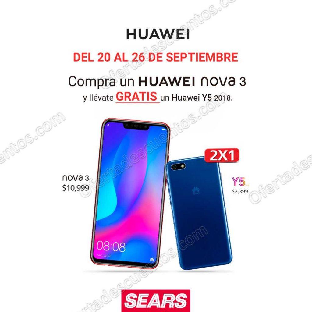 Sears: Celular Huawei Y5 2018 GRATIS al comprar Huawei Nova 3