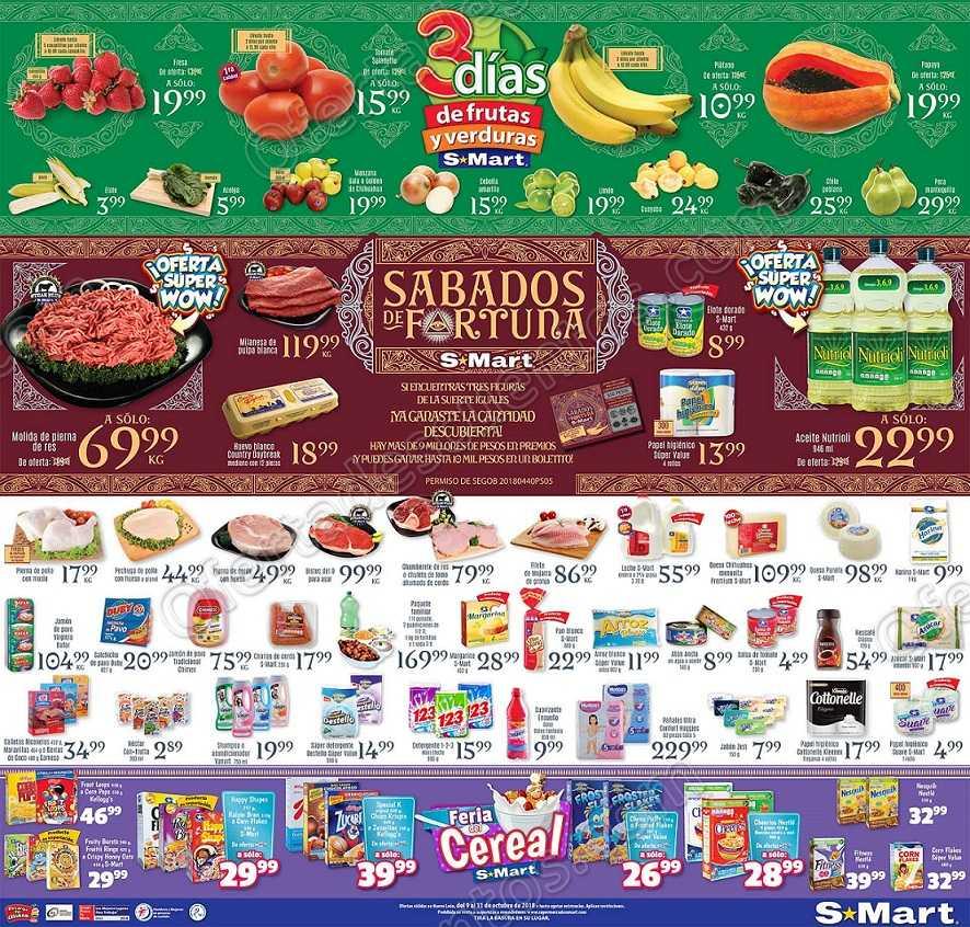 3 días de Frutas y Verduras S-Mart del 9 al 11 de Octubre de 2018