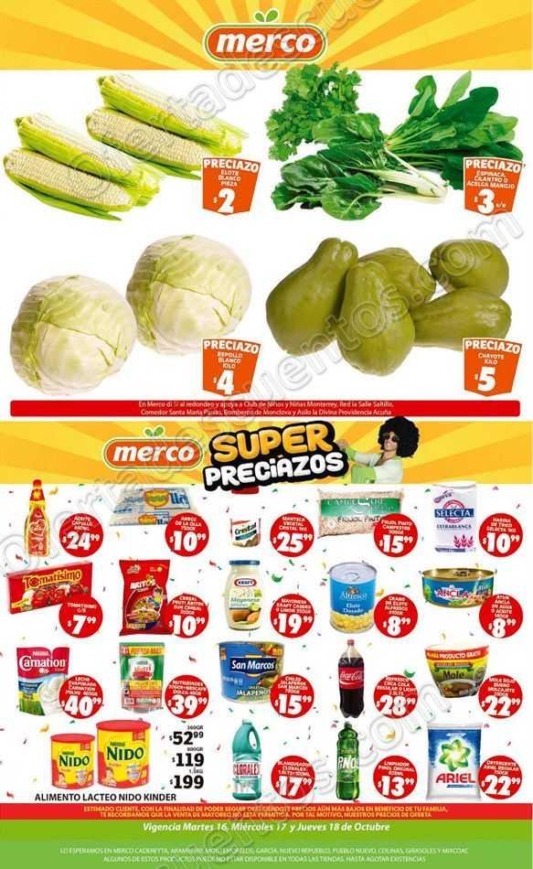 Ofertas Frutas y Verduras Merco del 16 al 18 de Octubre 2018
