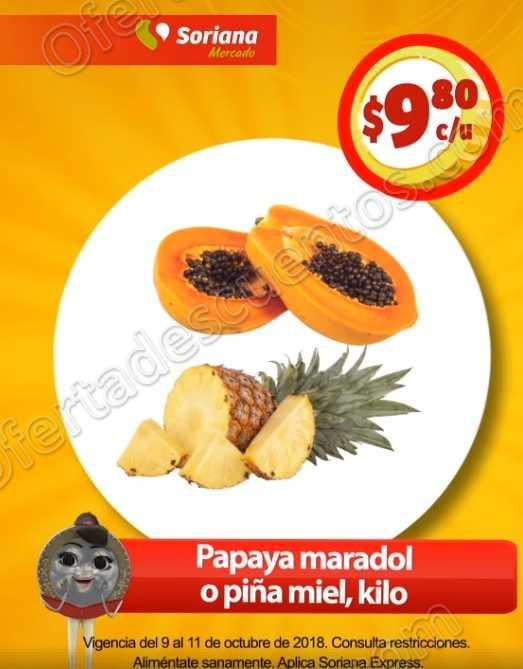 Frutas y Verduras Soriana Mercado y Soriana Express del 9 al 11 de Octubre 2018