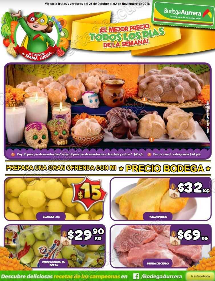 Frutas y verduras Bodega Aurrerá del 26 de Octubre al 2 de Noviembre 2018