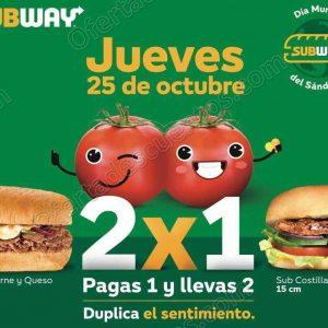 Subway: 2×1 en Subs de 15 cm el 25 de octubre 2018