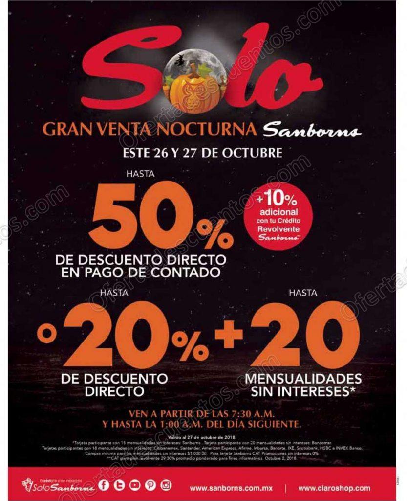 Venta Nocturna Sanborns 26 y 27 de Octubre 2018