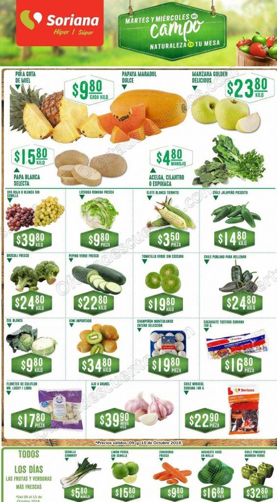 Frutas y Verduras Soriana 9 y 10 de Octubre 2018