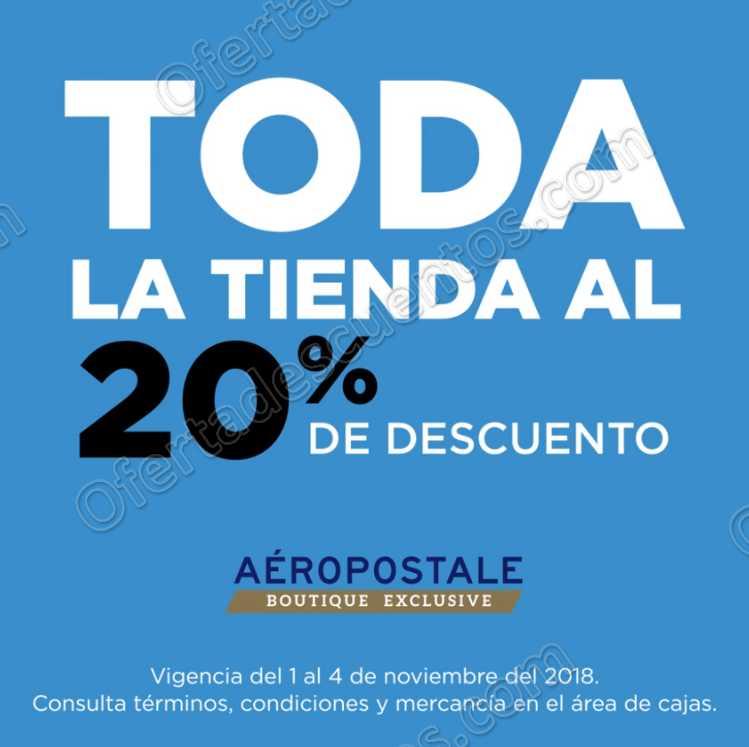 Aéropostale: 20% de descuento en toda la tienda del 1 al 4 de Noviembre 2018