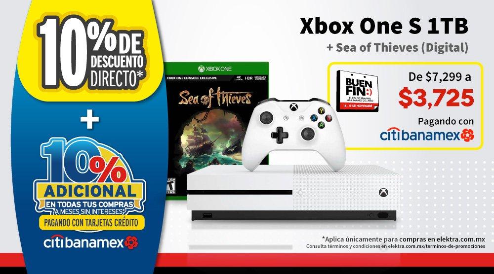 Buen Fin 2018 Elektra: Xbox One S 1TB más Juego Sea of Thieves a $3,725 con Banamex