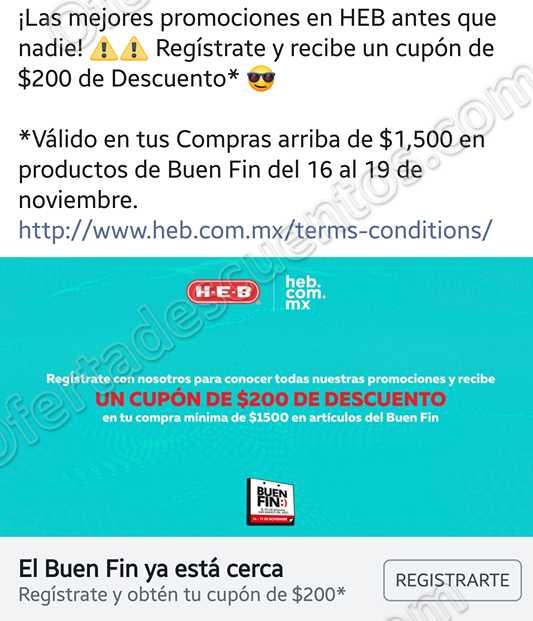Promoción El Buen Fin 2018 HEB: Obtén cupón de $200 de descuento con solo registrarte