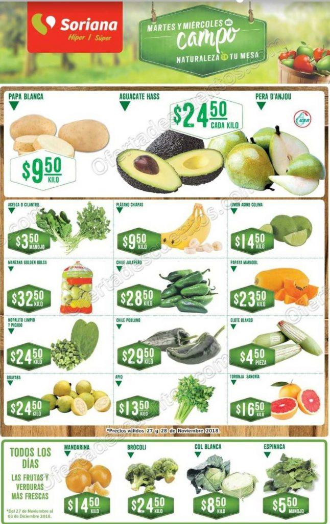 Frutas y Verduras Soriana 27 y 28 de Noviembre 2018