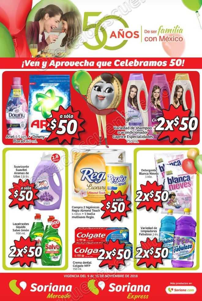 Folleto Ofertas Soriana Mercado 50 años del 9 al 15 de Noviembre 2018