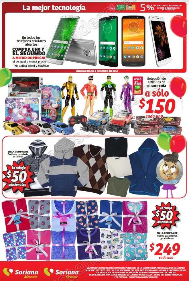 Soriana Mercado: Folleto Ofertas de Aniversario del 5 al 8 de Noviembre 2018