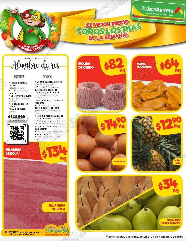 Frutas y Verduras Bodega Aurrerá del 23 al 29 de Noviembre 2018