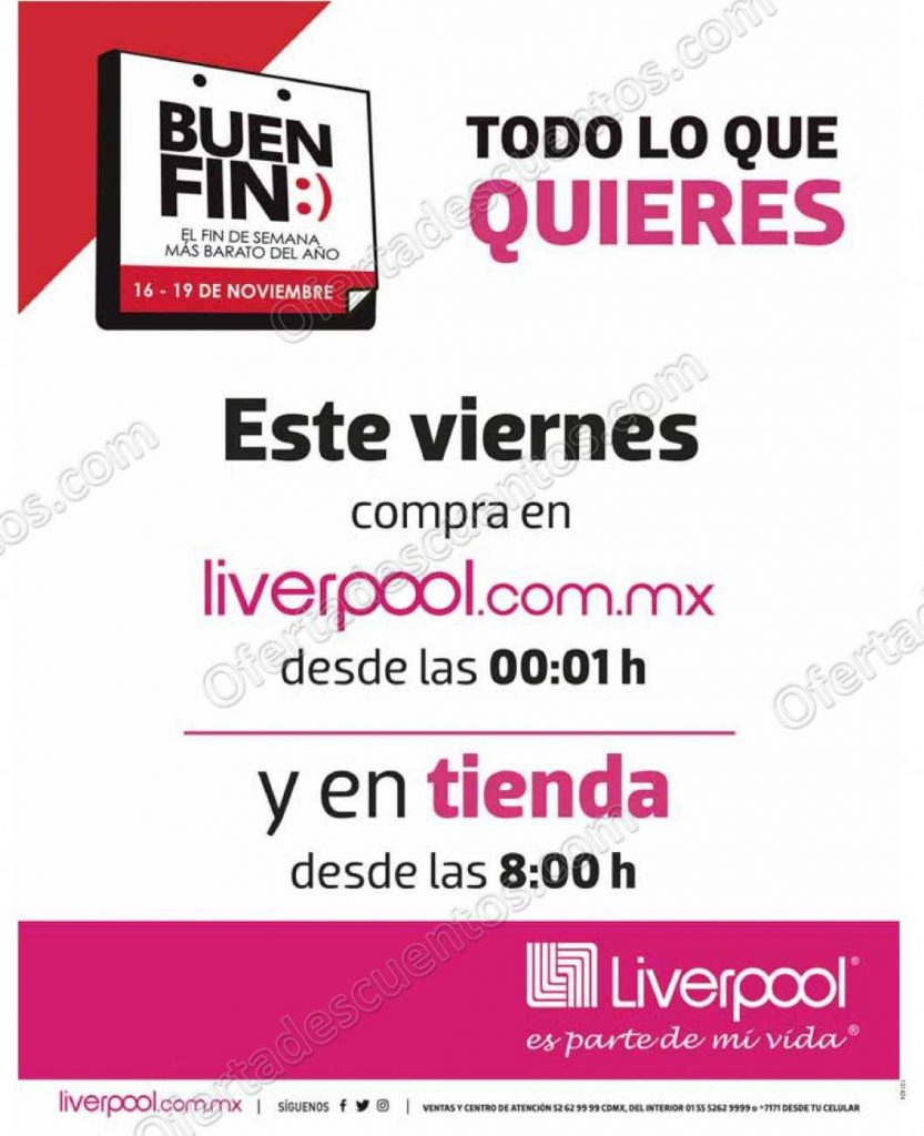 Horarios del Buen Fin 2018 Liverpool del 16 al 19 de Noviembre