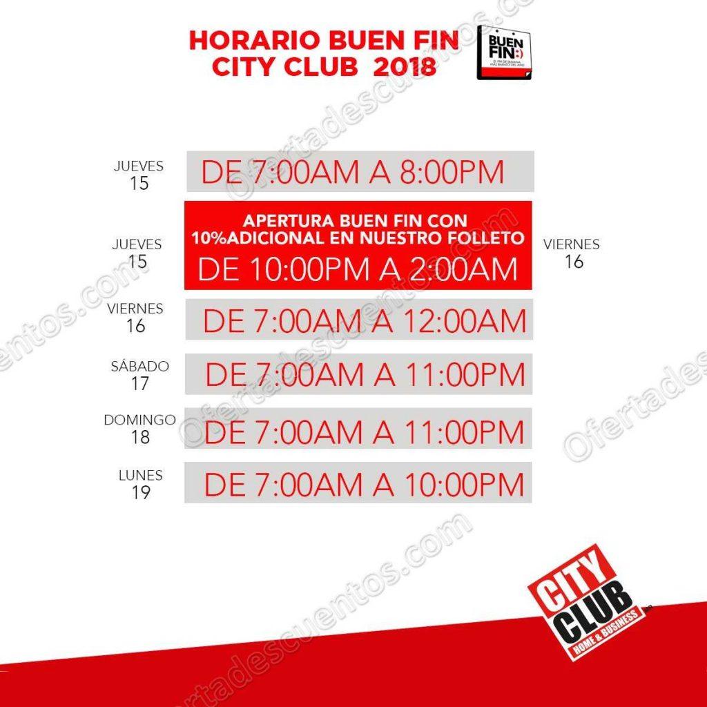 Horarios del Buen Fin 2018 City Club