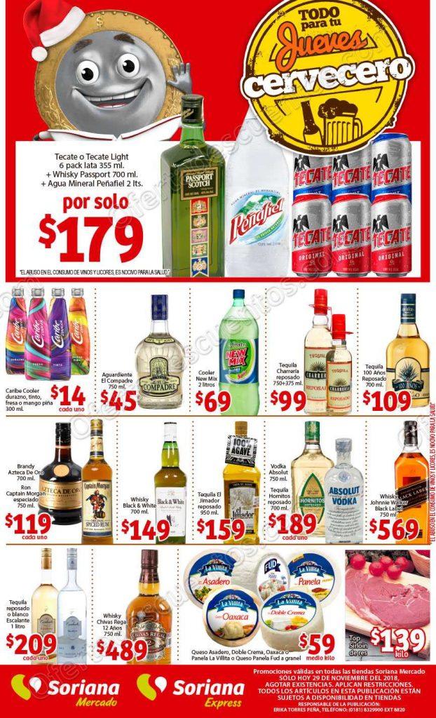 Soriana Mercado: Ofertas Vinos y Licores Jueves Cervecero 29 de noviembre 2018