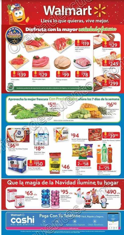 Walmart: Promociones Fin de Semana de Asador en Carnes, Frutas y Verduras al 25 de Noviembre 2018