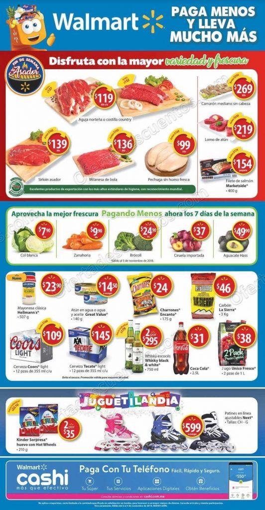 Walmart: Promociones Fin de Semana de Asador, Carnes, Frutas y Verduras del 2 al 4 de Noviembre