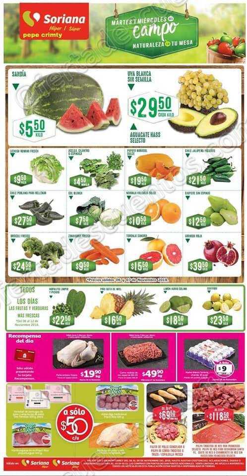 Frutas y Verduras Soriana 6 y 7 de Noviembre 2018