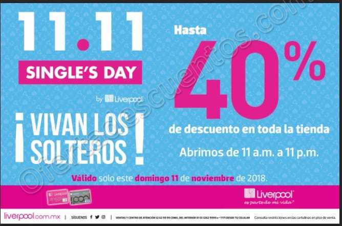 Single's Day Liverpool 2018 Hasta 40% de Descuento