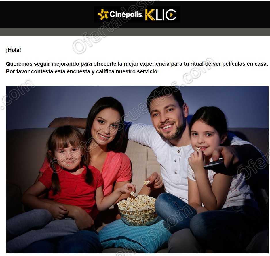 Cinéplos Klic: Renta Gratis al contestar encuesta