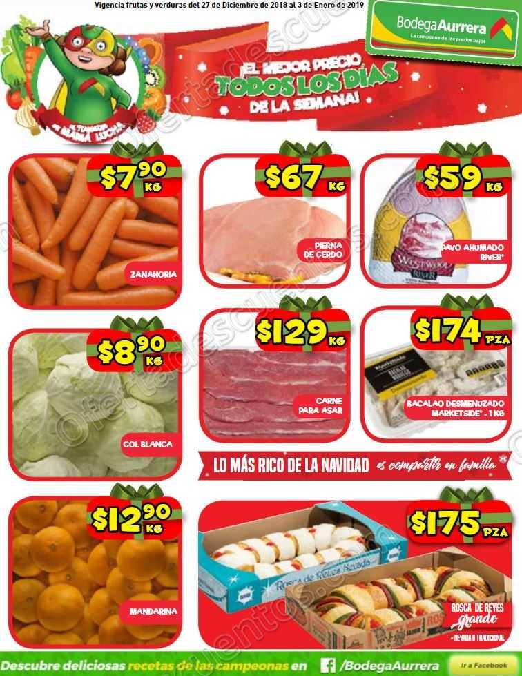 Frutas y Verduras Bodega Aurrerá del 27 de Diciembre 2018 al 3 de Enero 2019