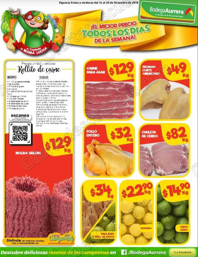 Frutas y Verduras Bodega Aurrerá del 14 al 20 de Diciembre 2018