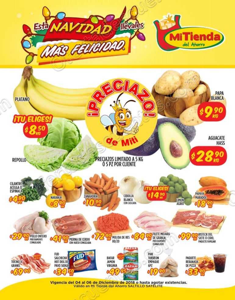 Frutas y Verduras Mi Tienda del Ahorro del 4 al 6 de Diciembre 2018
