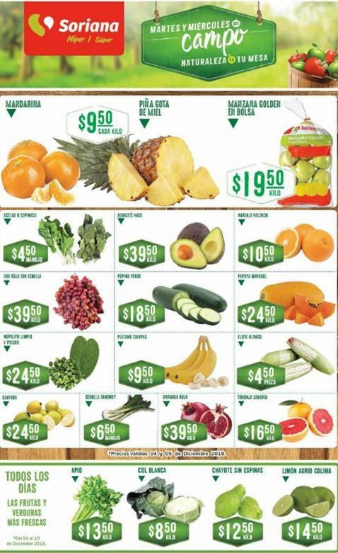 Frutas y Verduras Soriana 4 y 5 de Diciembre 2018