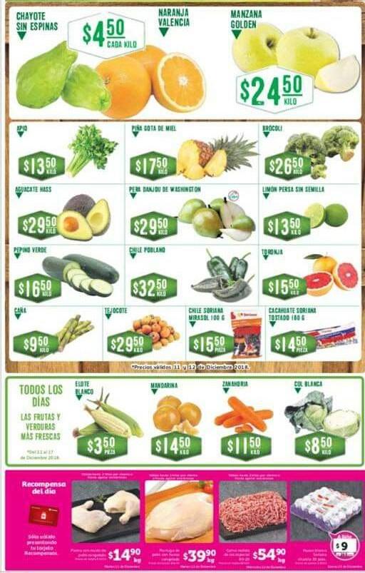 Frutas y Verduras Soriana 11 y 12 de Diciembre 2018
