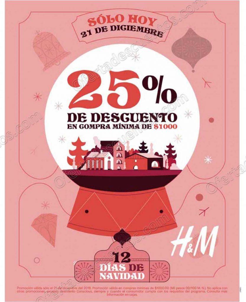 HYM: 12 días de Navidad 25% de descuento en compra mínima de $1,000 solo 21 de Diciembre
